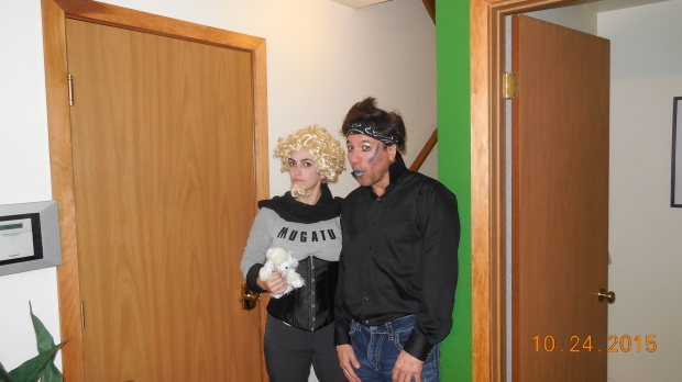 Paul and Rachel made up as Derick Zoolander and Mugatu for a costume party.